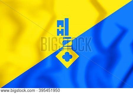 3d Flag Of Gilze En Rijen (north Brabant), Netherlands. 3d Illustration.