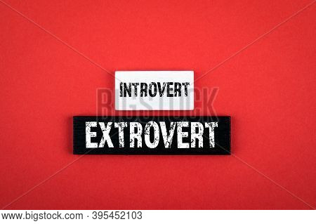 Introvert And Extrovert. Patterns Of Behavior, Personalities, Character And Psychology Concept