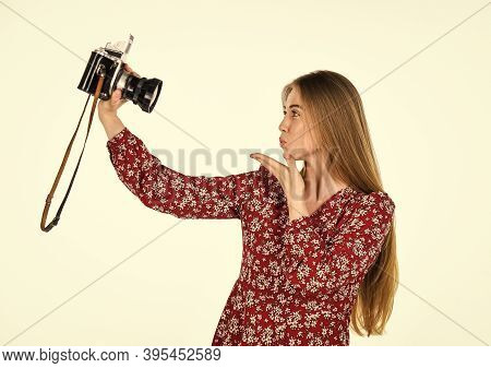 Sending Kiss. Journalist. Woman With Retro Camera. Vintage Photographing. Professional Skilled Femal