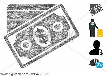 Vector Net Money. Geometric Wire Frame Flat Net Based On Money Icon, Designed From Crossed Lines. So