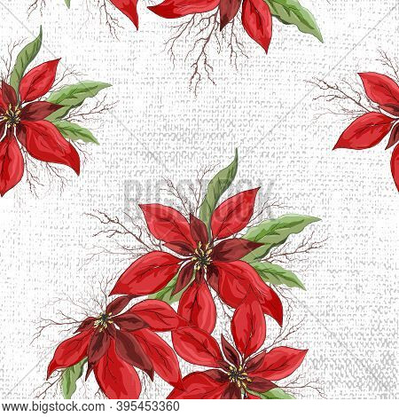 Seamless Vector Pattern Of Red Poinsettia Flowers. Hand-drawn Doodle In Realistic Style, Close-up. M