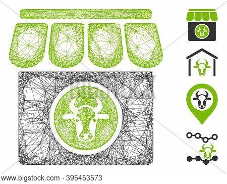 Vector Net Livestock Farm. Geometric Hatched Frame Flat Net Generated With Livestock Farm Icon, Desi