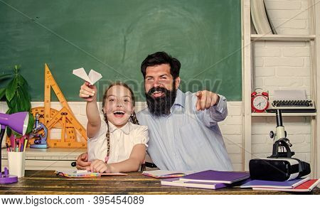 Man Bearded Pedagogue And Pupil Having Fun. School Learners Leisure. Creating A Community Of Learner