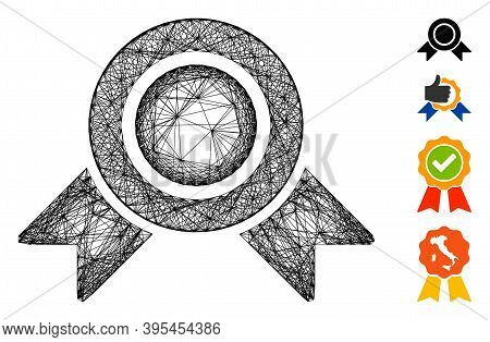 Vector Wire Frame Honour Medal. Geometric Wire Frame Flat Net Generated With Honour Medal Icon, Desi