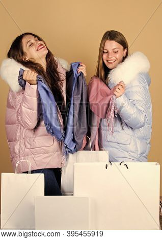 Sale And Discount. Shopping Bags. Having Fun Together. Black Friday. Buy Winter Clothes. Girls Wear