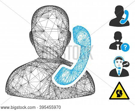 Vector Net Reception. Geometric Hatched Carcass 2d Net Generated With Reception Icon, Designed With