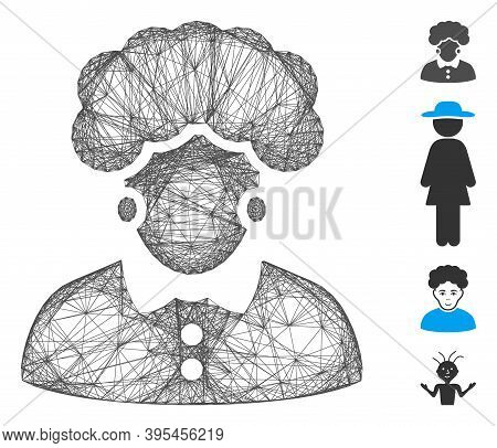 Vector Wire Frame Brunette Woman. Geometric Wire Carcass 2d Net Made From Brunette Woman Icon, Desig