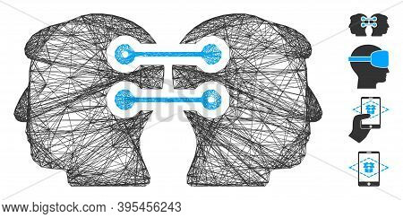 Vector Wire Frame Dual Heads Interface Connection. Geometric Linear Frame 2d Network Generated With