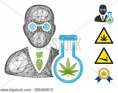 Vector Net Cannabis Chemist. Geometric Linear Carcass 2d Net Made From Cannabis Chemist Icon, Design