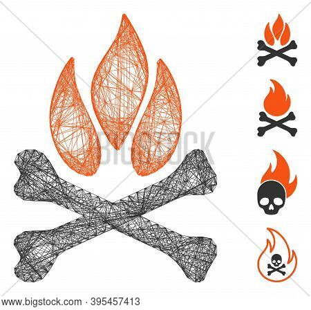 Vector Wire Frame Bones Campfire. Geometric Wire Frame 2d Net Based On Bones Campfire Icon, Designed