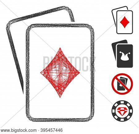 Vector Wire Frame Diamonds Gambling Cards. Geometric Wire Frame Flat Net Based On Diamonds Gambling