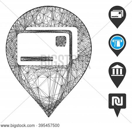 Vector Wire Frame Bank Cards Pointer. Geometric Wire Frame Flat Network Based On Bank Cards Pointer