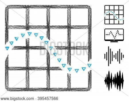 Vector Wire Frame Dotted Function Chart. Geometric Hatched Frame 2d Net Made From Dotted Function Ch
