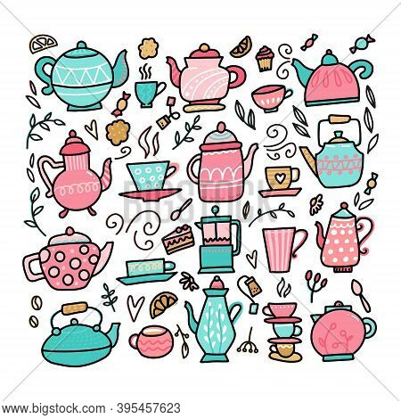 Doodle Style Teapot And Tea Cups Collection. Scandinavian Cozy Simple Hygge Linear Style With Color.