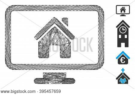 Vector Wire Frame Realty Monitoring. Geometric Wire Frame 2d Net Generated With Realty Monitoring Ic