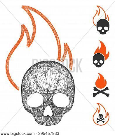 Vector Wire Frame Hell Fire. Geometric Wire Frame 2d Net Made From Hell Fire Icon, Designed From Cro