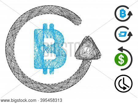 Vector Net Bitcoin Refund. Geometric Wire Frame Flat Net Made From Bitcoin Refund Icon, Designed Fro