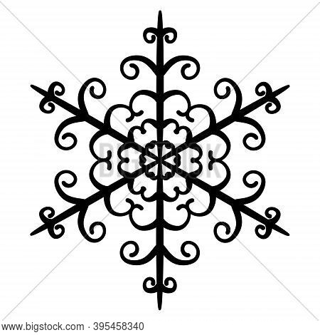 Beautiful Snowflake With Curls. Black Silhouette Of Christmas Snowflake. Winter Icon, Element For Il