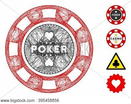 Vector Wire Frame Poker Casino Chip. Geometric Wire Frame 2d Network Based On Poker Casino Chip Icon