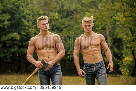 Strength And Perseverance. Men With Muscular Torso. Genetics Concept. Brotherhood Friendship. Handso