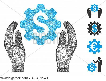 Vector Wire Frame Financial Insurance Options. Geometric Wire Frame Flat Network Made From Financial