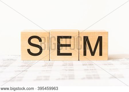 Word Sem. Wooden Small Cubes With Letters Isolated On White Background With Copy Space Available.bus