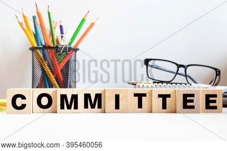 Committee Word Made With Building Blocks, Concept