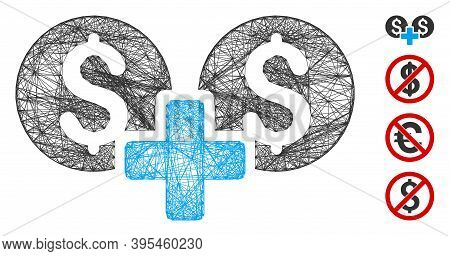Vector Network Financial Sum. Geometric Linear Carcass Flat Network Based On Financial Sum Icon, Des