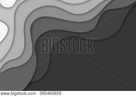 Abstract Light And Dark Gray Wavy Shapes Paper Cut Background. Elegant 3d Layered Illustration, Whit
