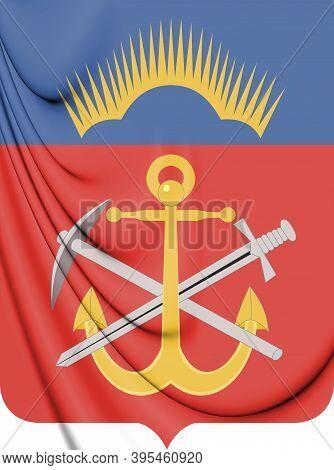 3d Murmansk Oblast Coat Of Arms, Russia. 3d Illustration.