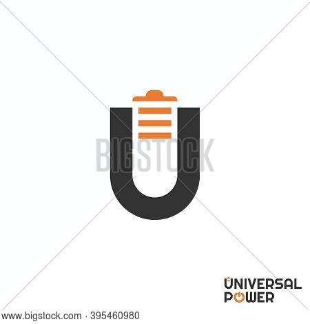 U Logo. U Letter Design. Image Of Battery. Font U And Power Concept. Can Be Used As A Symbol Related
