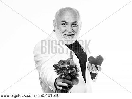 Senior Gentleman Romantic Soul. Man Hold Heart Symbol Of Love. Gentleman Concept. True Gentleman. We