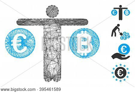 Vector Wire Frame Person Compare Bitcoin And Euro. Geometric Wire Frame 2d Net Based On Person Compa