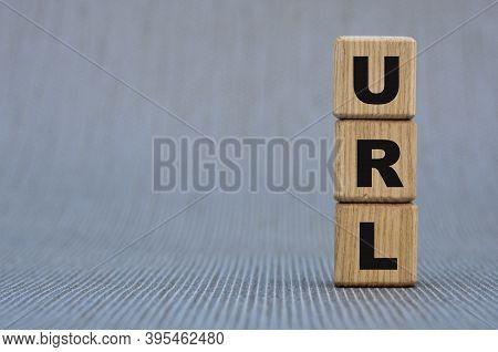 Wooden Blocks The Word Url (uniform Resource Locator) . Automation Strat