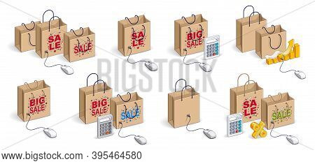 Online Shop Internet Retail Sale Vector 3d Illustrations Set Isolated On White Background, Shopping