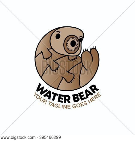 Water Bear Logo. Funny Water Bear Design. Image Of Water Bear Character. Water Animal Concept. Can B