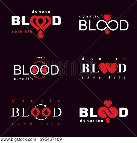 Vector Illustrations Created On Blood Donation Theme, Blood Transfusion And Circulation Metaphor. Re