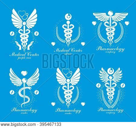 Aesculapius Greek Vector Abstract Logotypes Composed With Wings, Heart Shapes, Ecg Charts And Laurel