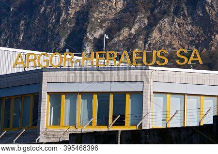 Mendrisio, Ticino, Switzerland - 16th November 2020 : Argor-heraeus Sa Sign Hanging On The Headquart
