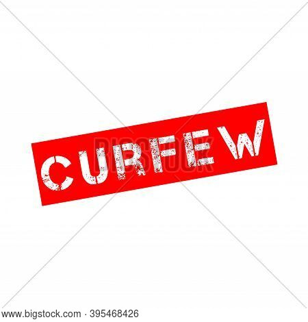 Rubber Stamp With Text Curfew On A White Background