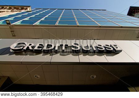 Lugano, Switzerland - 11th November 2020 : Credit Suisse Bank Sign Hanging In Front Of The Building