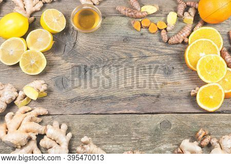 Ingredients For Ginger Shot Recipe. Immunity Boosting Components For Ginger Drink. On The Old Wooden