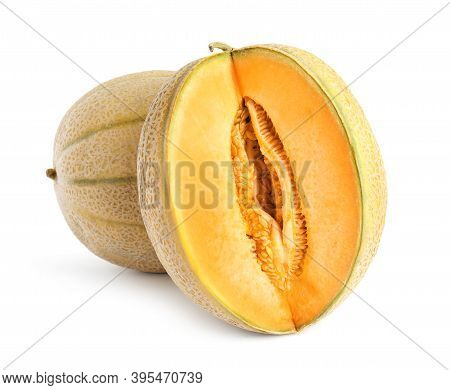 Tasty Fresh Cut And Whole Melons Isolated On White