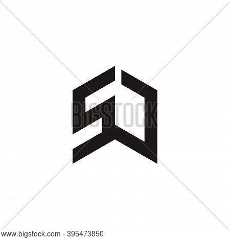 Letter Sj Connected Line Geometric Logo Vector