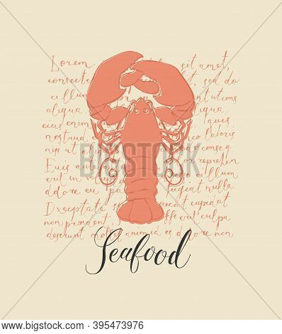 Vector Banner Or Menu For A Seafood Restaurant Or Store. Hand-drawn Illustration With A Big Orange L