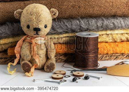 Small Teddy Bear Vintage Handmade. Hobby, Materials For Needlework. Handmade Gifts For Any Occasion.
