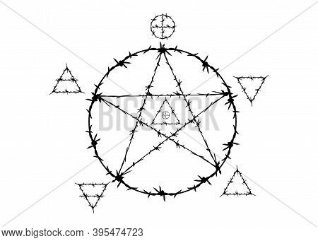 Pentagram Symbol In Barbed Wire Style. Magic Signs That Use The Witchery And Five Elements : Spirit