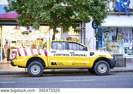 Buenos Aires / Argentina; Nov 14, 2020: Communal Control Vehicle Of Commune 5 Of The City