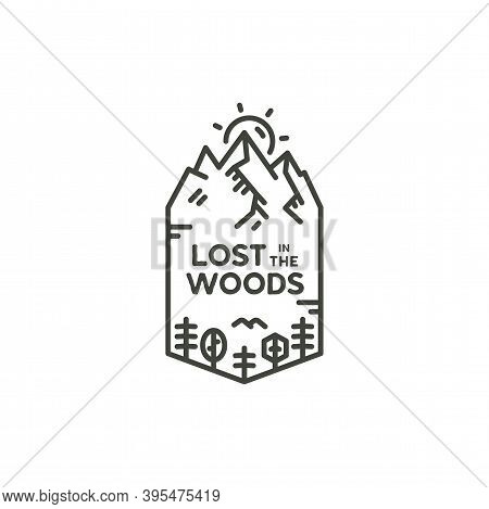 Vintage Linear Travel Badge. Camping Line Art Label Concept. Lost In The Woods Quote. Stock Vector P