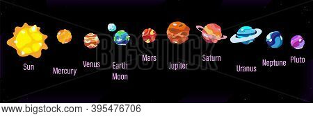 Cartoon Planets Solar System Set, Isolated On Black Background. Colorful Flat Style, Planetary Colle